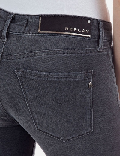 Replay NEW LUZ Skinny Jeans WH689 Black Power Stretch